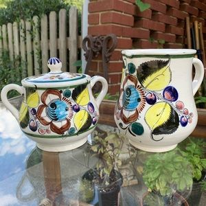 Vintage Mexican pottery sugar and creamer set
